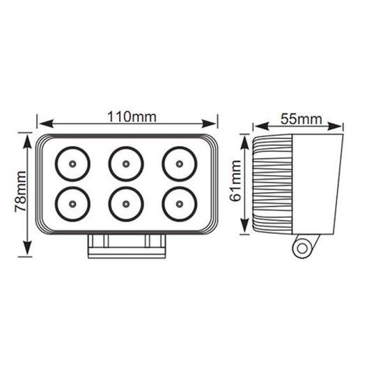 Delovna luč LED 6 X 3 W