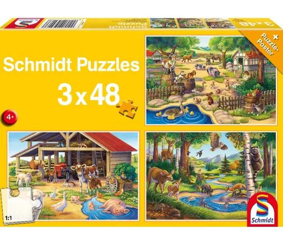 Fotografija izdelka Igrača Puzzle 3/1 -  živali na kmetiji