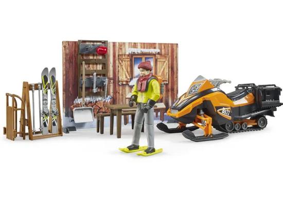Fotografija izdelka Igrača Planinska koča s snežnimi sanmi Bruder