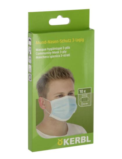 Fotografija izdelka Zaščitna maska za obraz 10/1, 3-slojna za enkratno uporabo Kerbl