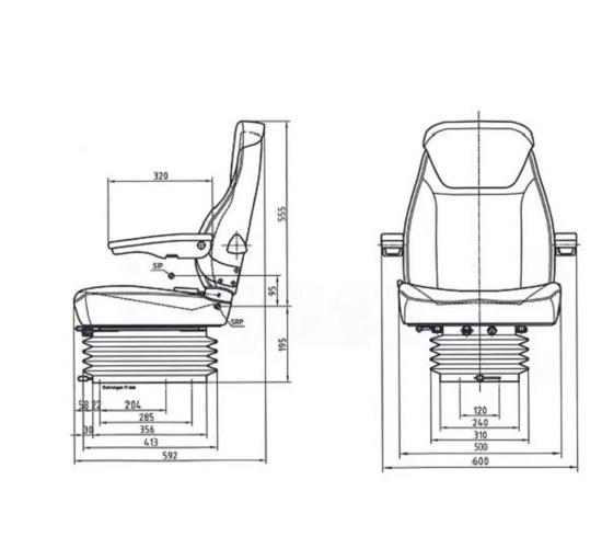 Fotografija izdelka Traktorski sedež pnevmatski GO PART