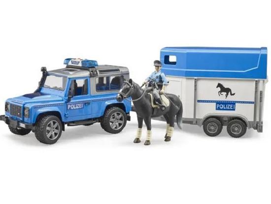 Fotografija izdelka Igrača policijski avto Land Rover s konjsko prikolico