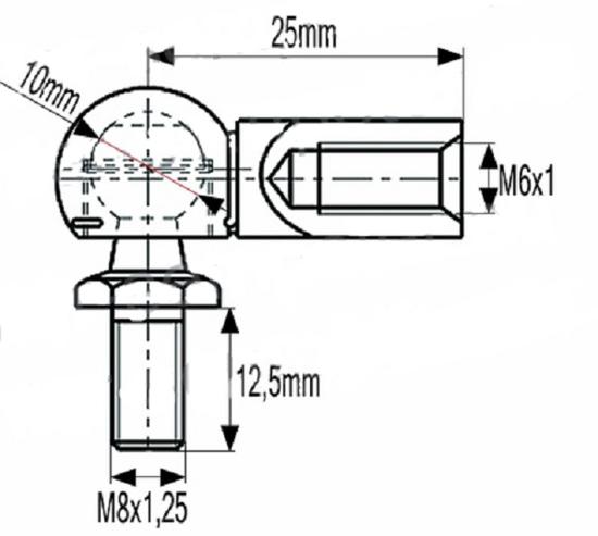Fotografija izdelka Zglob amortizerja M8 x 1,2